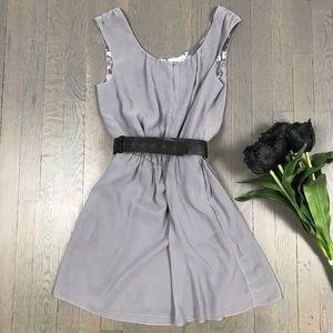 Express Light Grey Sleeveless A-Line Party Dress